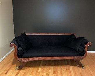 """ANTIQUE MAHOGANY SOFA CIRCA 1900s PURCHASE MASSACHUSETTS PAID $4,500 PROFESSIONALLY-RESTORED AND REUPHOLSTERED 7 YEARS AGO 83"""" L x 34"""" D x 35"""" H"""