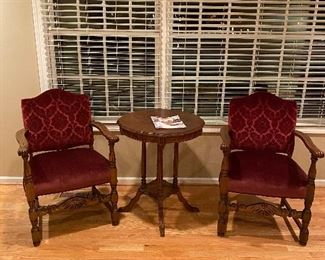 TWO ANTIQUE ARMCHAIRS IN BURGUNDY UPHOLSTERY