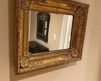 """CROUCHING SHELL MIRROR GOLD LEAFED WOOD FROM PARIS, FRANCE 25"""" x 20.5"""""""