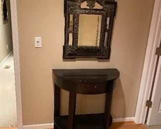 """ANTIQUE HALF MOON HALLWAY TABLE WITH DRAWER FROM PARIS, FRANCE 16.5"""" W x 32"""" L x 33"""" H  BREATHTAKING ANTIQUE MIRROR METAL AND WOOD IMPORTED FROM PARIS, FRANCE 23"""" W x 35"""" L"""