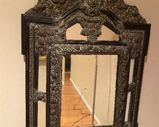 """BREATHTAKING ANTIQUE MIRROR METAL AND WOOD IMPORTED FROM PARIS, FRANCE 23"""" W x 35"""" L"""