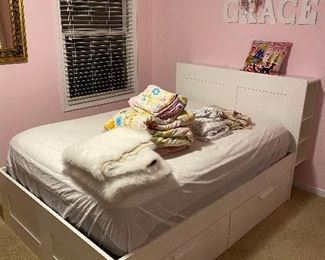 WHITE FULL SIZE BRIMNES IKEA BED WITH DRAWERS-ONLY YEAR OLD