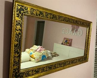 """IMPORTED FROM PARIS, FRANCE GOLD LEAF RECTANGULAR MIRROR 55"""" x 27"""""""