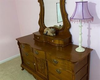 """ANTIQUE DRESSER WITH MIRROR DOVETAIL DRAWERS 64"""" L x 21"""" D x 82"""" H"""