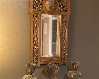 ANTIQUE BRASS WALL SCONCE WITH MIRROR
