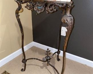 """MARBLE TRIANGULAR CORNER TABLE WITH METAL WROUGHT IRON BASE 20"""" W x 17.5 D x 30.5""""H"""
