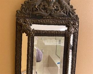 """GILDED METAL ON WOOD MIRROR FROM PARIS, FRANCE 14"""" x 24"""""""