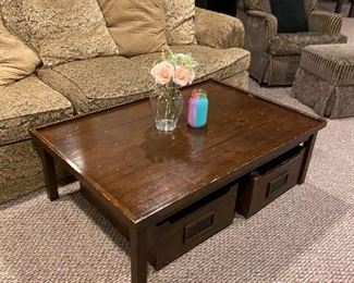 """WOODEN COFFEE TRAIN TABLE WITH WOODEN DRAWERS 48.5"""" L x 32.5"""" W x 15.5"""" H"""