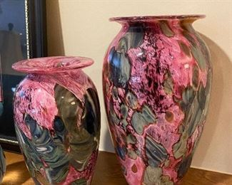 HAND BLOWN VASES-SIGNED