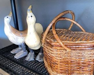 VINTAGE BASKET AND WOODEN GEESE