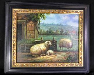 002M Original Oil Painting of Sheep