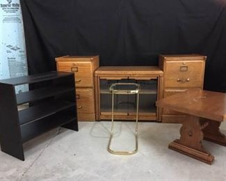 2 File Cabinets, TV Stand/Cabinet, Side Table, Shoe Rack, and Small Glass Table https://ctbids.com/#!/description/share/285176