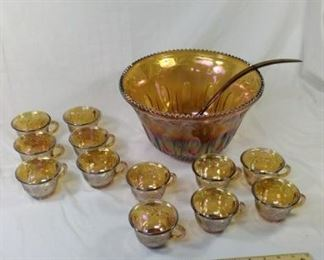 Gold Carnival Glass punch bowl and cups