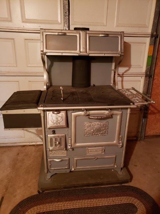 Restored Home Comfort wood burning range stove