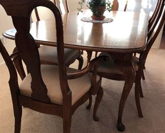Cherry dining room table chairs, 1 leaf and pads