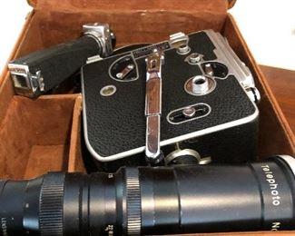 Bolex movie camera and lens