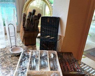 silverware, knoves, fondue forks