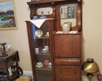 Antique drop desk, step back cabiney
