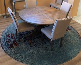 Pedestal Dining Table and 6 Chairs w Nailhead Accent from Paris in Scottsdale