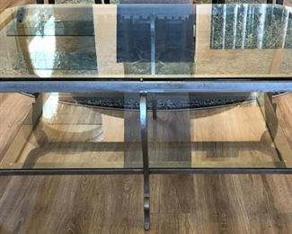 Matching Glass and Metal Coffee Table