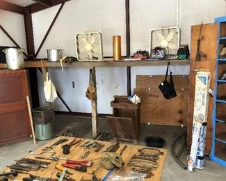 tools/wooden cabinets/box fans/cooking pots