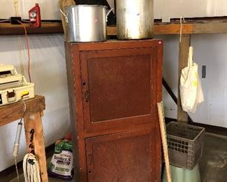 wooden storage cabinet/cooking pots