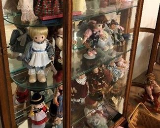 "Lighted curio cabinet; 6 shelves 48"" W x 80"" H x 13"" D/collectable dolls"