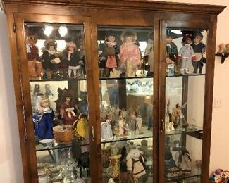 "Lighted Curio Cabinet; 4 shelves, 76 1/4"" W x 82"" H x 21"" D/Collectable dolls"