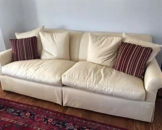 Sherrill butter colored linen sofa from Mathews furniture. Absolutely gorgeous and stunning.