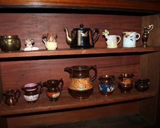 Collection of English copper luster pitchers and other pottery / porcelain items