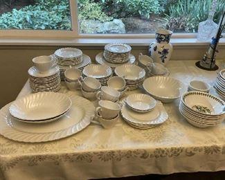 Johnson Brothers white porcelain china, $150