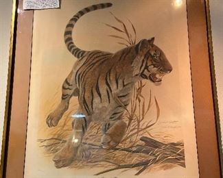 """""""Bengal Tiger"""" Safari Series signed and framed and mated, by John Ruthven, 1970.  $150.00"""