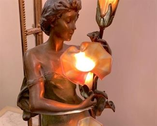 "Art Nouveau 32"" lamp with art glass shades"