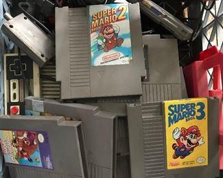 Vintage Nintendo with Mario games