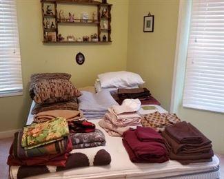 QUEEN BED MATTRESS SET, BEDDING, KNICK KNACKS, SHELF, PICTURES