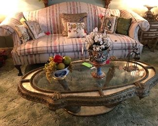 Queen Anne Style Sofa, coffee table