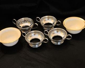 LENOX CUPS AND STERLING SILVER HOLDERS https://ctbids.com/#!/description/share/282016