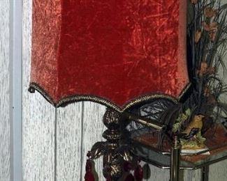 """Unique Vintage 42.5"""" Parlor Lamps With Crushed Velvet Shades And Red Glass Charms, Qty 2"""