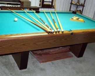 "Slate Top Pool Table 30.5"" X 56"" X 101 ,Billiard Balls And Set Of 6 Pool Sticks"