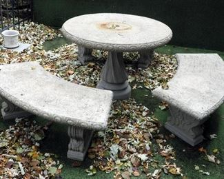 """Cast Concrete Patio Set With Pedestal Table And Curved Benches, Qty 3 30"""" T X 42"""" Round, Benches: 17' X 52"""" X 19"""""""