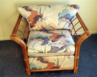 "Gimson Slater Bamboo Upholstered Armchair, 27"" x 36"" x 25"""
