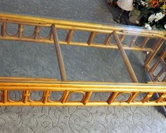 """Bamboo Coffee Table With Glass Top, 15.5"""" x 52.5"""" x 21"""""""