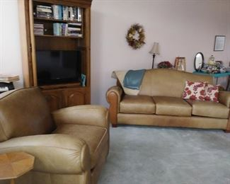 Thomasville leather sofa and recliner