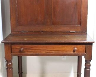 "Antique plantation desk, all hardwoods.  Front drops to create a desk top,  circa 1830-1850's  (25""D x  36""W x 58""H at back)"