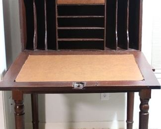 """Antique plantation desk, all hardwoods, interior photo revealing cubby holes.  Front drops to create a desk top,  circa 1830-1850's  (25""""D x  36""""W x 58""""H at back)"""