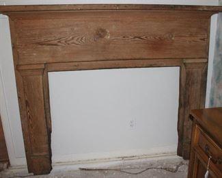 """Antique pine fireplace mantle (69""""W x 8""""D x 54.5""""H)"""