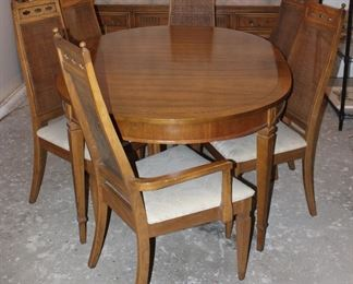 """Vintage Dining Table ( 65"""" x 44"""" w/3 12"""" Table leaves) and 2 cane high back Arm Chairs and 4 side chairs"""