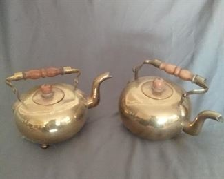 Pair of Vintage Brass Teapots