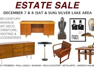 Mid-Century, Bauhaus, Art Deco, Americana & Modernist Furniture, Lighting, Art & Accessories 4 SALE!  Paul Laszlo, Harvey Probber, Murano, Jindrich Halabala, Vintage Movie Posters, Linocut, Solid Lead Cast Falcon Statuette on custom Black Walnut Base & More