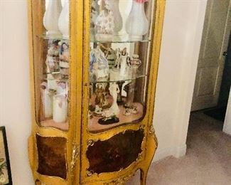 French Cabinet Vitrine Louis XV style Vernise Martin Painting on bottom . This is One piece out of 20 that We have listed and Can be Prebought  on Hibid https://missdonnas.hibid.com/catalog/193630/onsite-milton--pre-sale-estate-sale-and-auction/